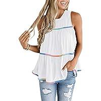 MIHOLL Women's Babydoll Tops Sleeveless Summer Casual Loose T Shirt