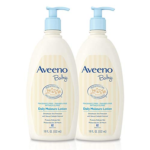 Aveeno Baby Daily Moisture Lotion with Oatmeal & Dimethicone, Fragrance-Free, 18 fl. oz, Twin...