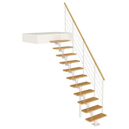 DOLLE Raumspartreppe Boston | 11 Stufen | Geschosshöhe 228 – 300 cm | Geradelaufend |Buche, lackiert | Unterkonstruktion: Weiß (RAL 9016) | volle Stufen 70 cm | inkl. Geländer | Nebentreppe