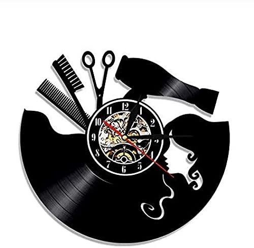 zgfeng Reloj de Pared de Vinilo Reloj de Pared de Vinilo Vintage Peluquero barbero profesión Hecho a Mano Arte Moderno Colgante de Pared Hobby Regalo Creativo de ensueño-con LED