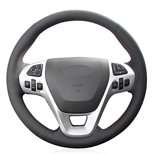 DkelBA Cubierta de Cuero para Volante de Coche, para Ford Explorer 2011-2019 Taurus 2013-2019 Edge 2011-2014 Flex 2013