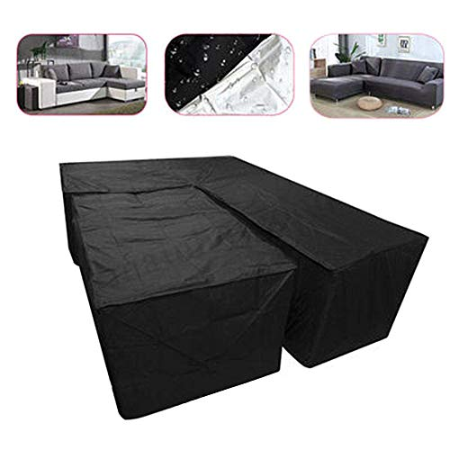 Iwinna 2pcs L Shape Rattan Sofa Cover Set, Waterproof Garden Furniture Couch Cover Rectangular Dining Patio Corner Furniture Cover