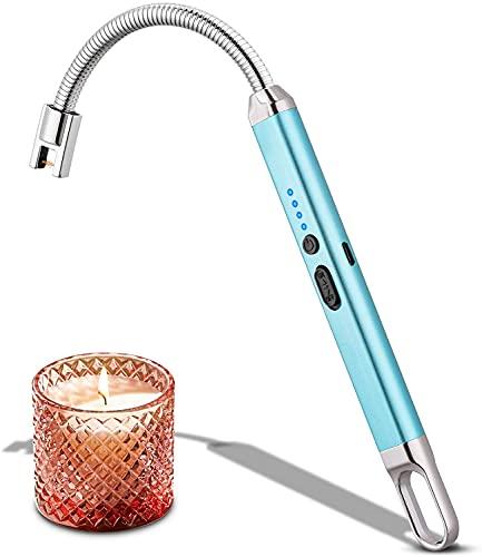Encendedor eléctrico, Encendedor de Velas Encendedor Largo con Pantalla LED de batería, Encendedor Recargable USB sin Llama Flexible de Cuello Largo para Cocina, Camping, Barbacoa, Gas(Azul)