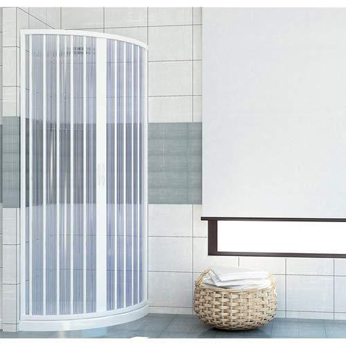 Cabina de ducha de PVC 90 x 90 cm, modelo Roxana semicircular, paneles semitransparentes con apertura de fuelle central reducible