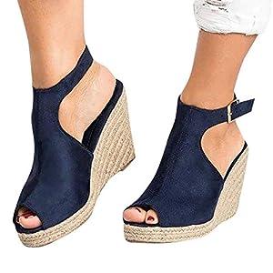 Aniywn Womens Espadrille Platform Wedge Sandals Ankle Strappy Peep Toe Slingback High Heel Summer Sandals Dark Blue