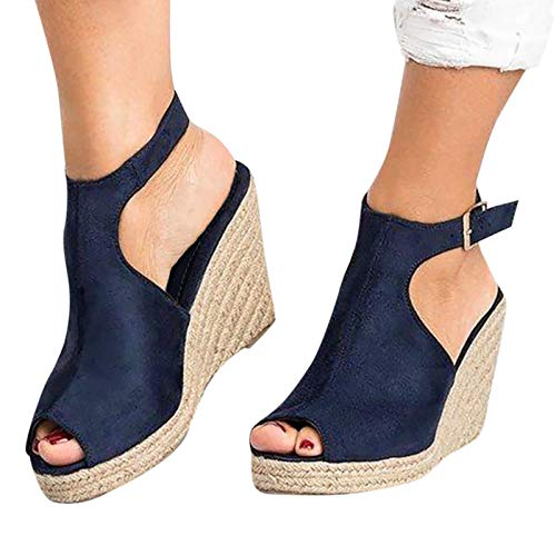 Cookinty Wedge Sandals for Women Espadrille Ankle Buckle Strap Open Toe Platform Sandals Casual Summer Strappy Sandals Blue