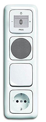 Busch Jäger Unterputz Bluetooth Radio 8217 U (8217U) alpinweiß Reflex SI Lautsprecher + Steckdose mit Kinderschutz + Licht- Wippschalter 2000/6 US + Radio + 4fach Rahmen