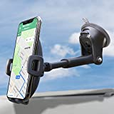Suction Cup Phone Holder for Windshield/Dashboard/Window, Universal Dashboard & Windshield Sturdy Suction Cup Car Phone Mount with Strong Sticky Gel Pad,Compatible W/ iPhone, Samsung &Other Smartphone