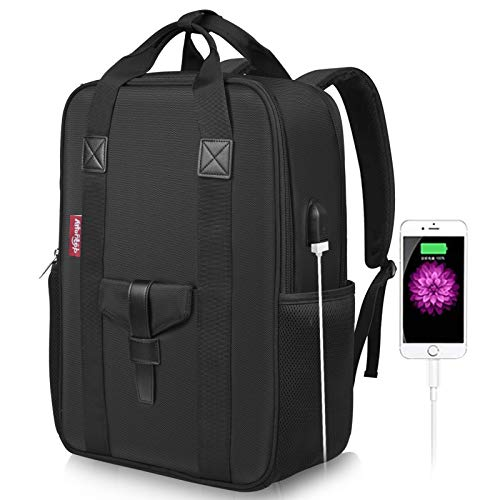 Arrontop Large Business Laptop Backpack 17 inch with USB Charging Port Anti-Theft Lightweight Travel Bag Waterproof Casual Rucksack Work Daypack for Men and Women -Black (Black)