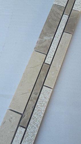 Cenefa de mosaico de mármol, piedra natural, azulejos Emperador, marrón, crema Marfil Beige B036