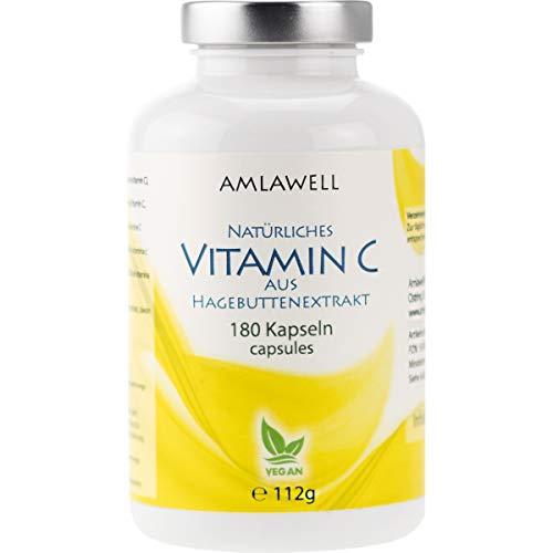 Amlawell Natuurlijke vitamine C-capsules, rozenbottelextract, 180 veganistische capsules voor 6 maanden, vrij van additieven