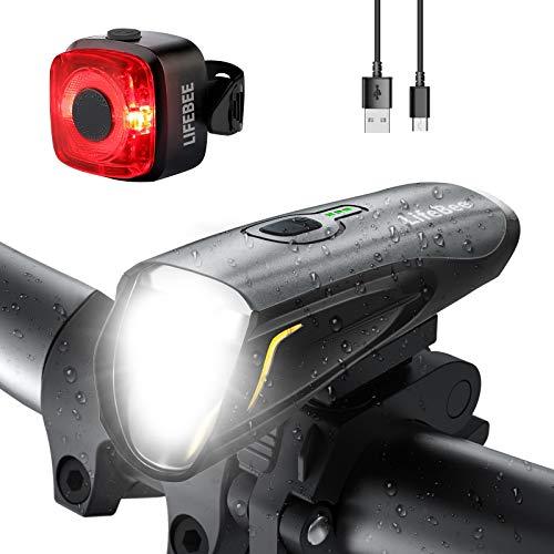 LIFEBEE Fahrradlicht, LED Fahrradlampe USB Fahrradbeleuchtung Fronlicht Rücklicht Fahrrad Licht Set, Wasserdicht Lichtset Fahrrad Beleuchtungsset Vorne Licht für Fahrrad mit 3 Licht-Modi