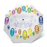 Parapluie Pliant, Parapluie Pliable Automatique Ouverture et Fermeture Résistant à Tempête Compact Léger Parapluie De Voyage pour Homme et Femme Acide multi-vitamines