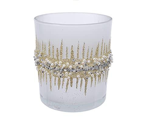 Decoris Portacandela in vetro con glitter e perle, 8 cm, colore: bianco oro
