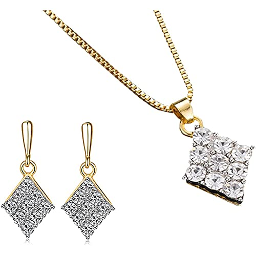 Gespout Joyería Set Pendientes Cristal Colgante Collar Colgante de Mujer Birthstone Collars de Mujer