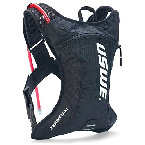 USWE Outlander 2L Hydration Pack with 15L/ 50 oz Hydration Bladder Black Bounce Free