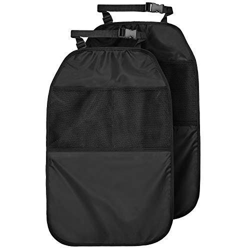 CARTO Rückenlehnenschutz mit Netztaschen, 2 Stück, schwarz | Auto-Rücksitzschoner/Kick-Matten-Schutz/Trittschutz für Kinder