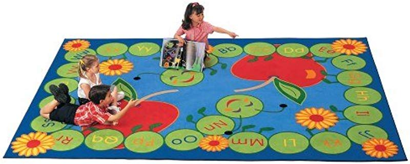 Carpets For Kids 2212 Literacy ABC Caterpillar Kids Rug Size 8 4 X 11 8 Blue