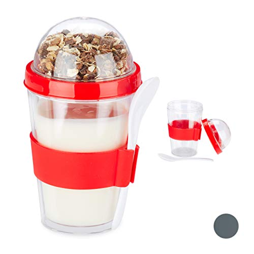 Relaxdays, rode mueslibeker, set van 2, yoghurtbekers, To Go beker, muesli cup, incl. lepel, 400 ml, HxD 16x8 cm, PS, silicone, 16 x 8 x 8 cm