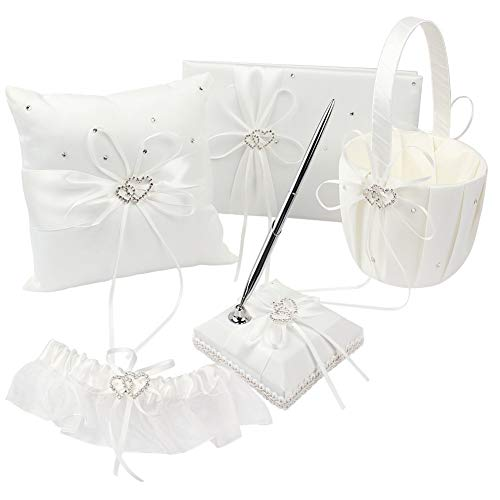 KANECH 5pcs Sets-Ivory Satin-Wedding Flower Girl Basket and Ring Bearer Pillow Set (Ring Pillow + Flower Girl Basket + Wedding Guest Book +Pen Set + Garter Cover)