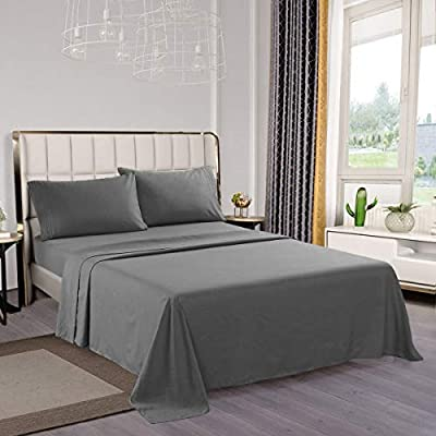 Bed Sheets, Luxury Thicker Microfiber Sheets Set California King Size, Hypoallergenic Soft Brushed 1800 Thread Count Sheets 16 inch Deep Pocket 4 Piece, Dark Grey