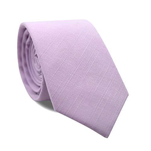 DAZI Men's Skinny Tie, Cotton Wool Linen Necktie, Great for Weddings, Groom, Groomsmen, Missions, Dances, Gifts. (Lavender)
