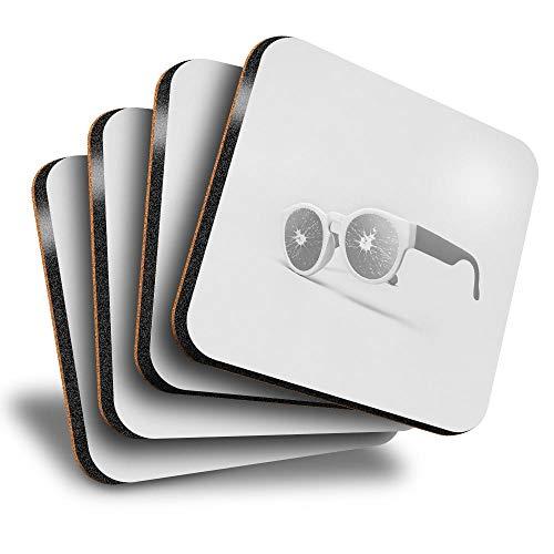 Destination Vinyl ltd Great Posavasos (juego de 4) cuadrados – BW – Mandarine Gafas de sol Bebe brillante Posavasos/protección de mesa para cualquier tipo de mesa #37073
