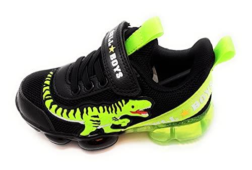 Bull Boys - Zapatillas deportivas de tela con luces de dinosaurio, color negro, cód. BB2130 Negro Size: 26 EU