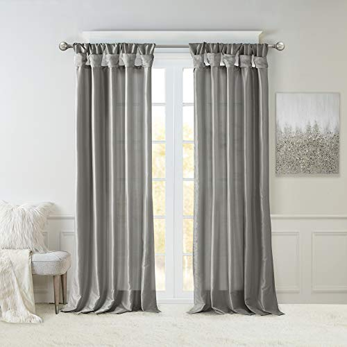 Madison Park Emilia Faux Silk Curtain with Privacy Lining, DIY Twist Tab Top Window Drapes for Living Room, Bedroom and Dorm, 50x108, Charcoal