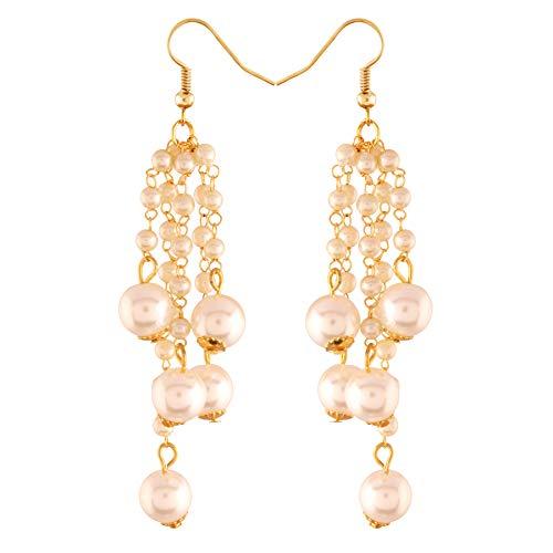 I Jewels Pendientes de perlas tradicionales chapados en oro para mujer (E2732W)
