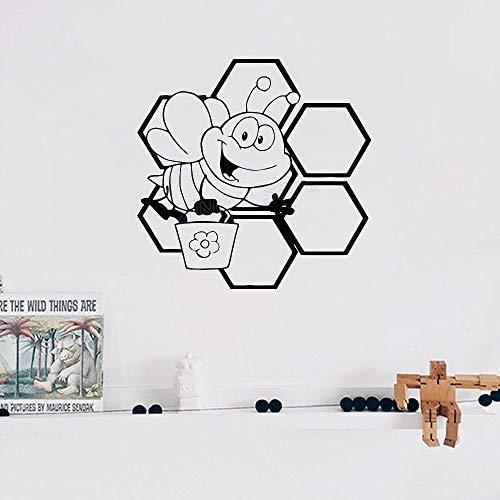 Geiqianjiumai Schattige honing bij honingraat vleugels kleuterschool vinyl muursticker kunst patroon applique Animal Home Decor