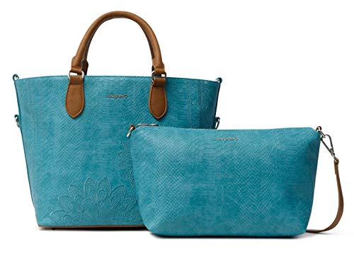 Desigual PU Hand Bag, Borsa a Mano. Donna, Blu, U