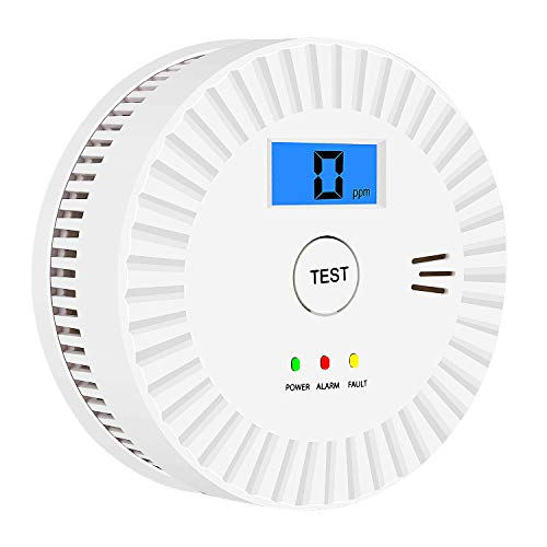Smoke and Carbon Monoxide Detector Powered by Battery with Digital Display, Dual Alarm Sensor of Smoke and CO,Easy to Install