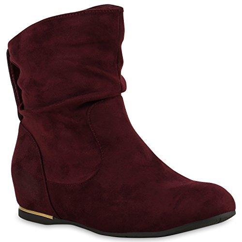 Flache Damen Stiefeletten Wildleder-Optik Boots Schlupfstiefel Trendy Schuhe 123317 Dunkelrot Carlet 36 Flandell