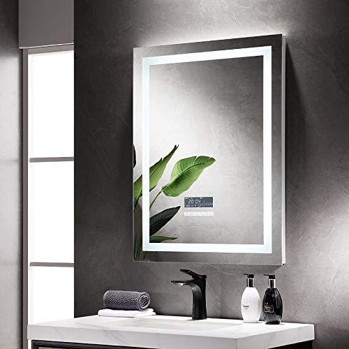 iClosam Espejo de pared con luz LED, espejo de baño, espejo de baño con iluminación, 60 x 80 cm, con altavoz Bluetooth y reloj digital antivaho