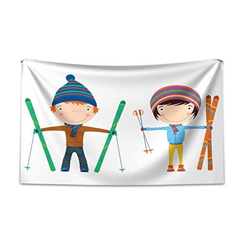 ABAKUHAUS Kinder Sport Wandteppich und Tagesdecke, Jungen und Mädchen Skier, aus Weiches Mikrofaser Stoff Moderner Digitaldruck Waschbar, 230 x 140 cm, Mehrfarbig