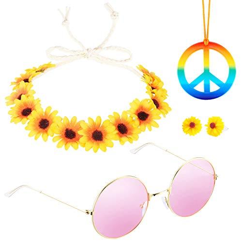 HOWAF Hippie Accesorios de Disfraces para Hombre y Mujer, Gafas Hippies Retro John Lennon Hippie 60