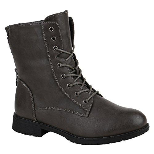 Damen Schuhe Schnürstiefeletten Profilsohle Stiefeletten Leder-Optik 152187 Grau Schleife 36 Flandell