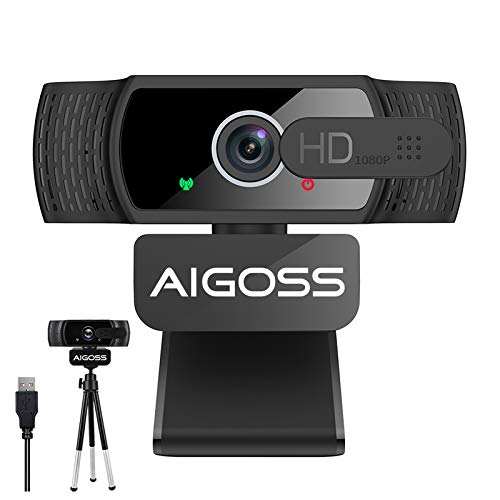 Aigoss Webcam con Micrófono para PC,1080P USB Cámara Web con Cover Y trípode para Video Chat y Grabación, Compatible con Windows, Mac y Android