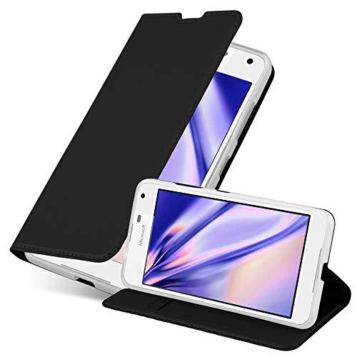 Cadorabo Hülle für Nokia Lumia 650 in Classy SCHWARZ - Handyhülle mit Magnetverschluss, Standfunktion & Kartenfach - Hülle Cover Schutzhülle Etui Tasche Book Klapp Style