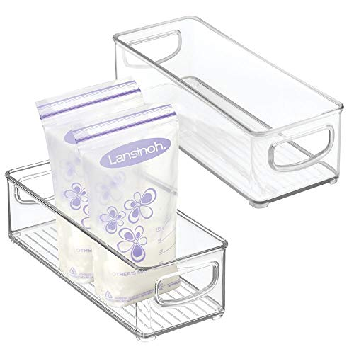 mDesign Baby Food Kitchen Refrigerator Cabinet or Pantry Storage Organizer Bin with Handles for Breast Milk, Pouches, Jars, Bottles, Formula, Juice Boxes - BPA Free, 10