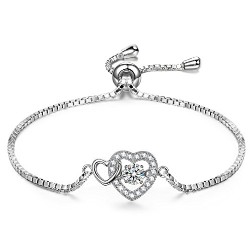 DANCING HEART Dangle Heart Bracelet for Women Bracelet Silver Bracelet Heart Bracelet Swarovski Bracelet Dancing Diamond Bracelet Jewelry Gift for Women Bracelet Graduation Gifts