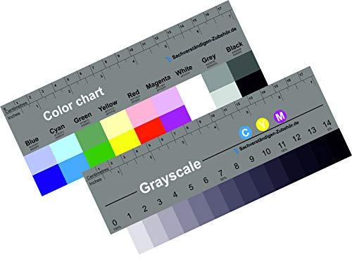 Stufengraukeil und Farbkarte 18 cm | KUNSTSTOFF | Von Sachverständigen-Zubehör | Belichtungsmesser für Kamera Spiegelreflex| Weißabgleich | Farbfächer | Farben palette | Fotobearbeitung | Druck matt