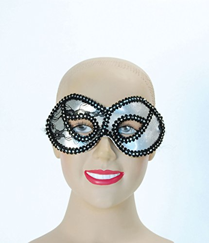 Metallic Silver Lace Domino Eye Mask
