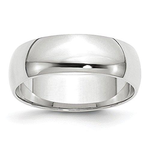Alianza de boda de oro blanco de 10 quilates de 6 mm con media circunferencia LTW, tamaño 4,5