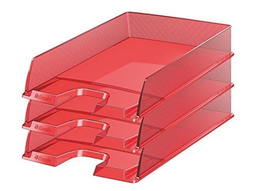 Esselte Europost–Set di 10vaschette portacorrispondenza traslucido Set da 10 rosso semitrasparente
