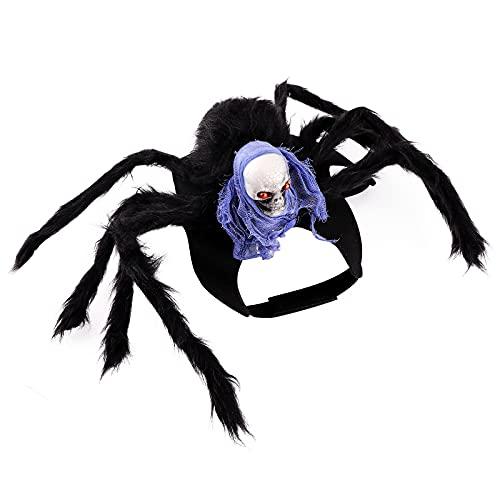 Ropa de Mascota Halloween,Disfraz de perro y gato para mascotas de Halloween Disfraz de gato de calavera de araña negra Disfraz de gato para perro Halloween Decoraciones para mascotas de Halloween