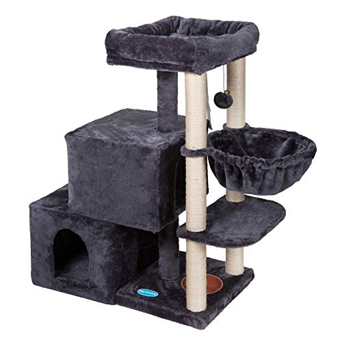 Heybro Cat Tree with 2 Luxury Condo Cat Tower with Cozy Baskets Padded Plush Perch MultiPlatform for Jump Smoky Gray