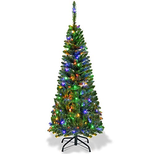 Goplus 4.5FT Prelit Pencil Christmas Tree, Premium Hinged Fir Tree, with 150 LED Lights and Solid Metal Stand, Easy Assemble, Ideal Xmas Decor for Home and Office
