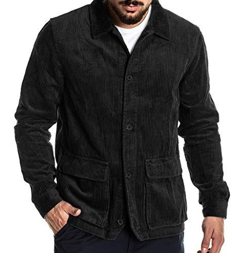 Azruma Herrenhemd, langärmlig, Normale Passform, aus Cord Hemdjacke Mantel Jacke Herren Hemd Langarm Regular Fit Casual Cordhemd aus Baumwolle Basic